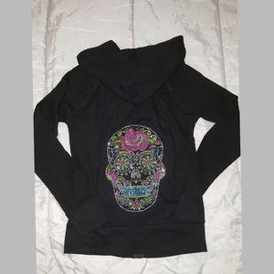 NEW Sugar Skull Rhinestones hoodie waffle SMALL